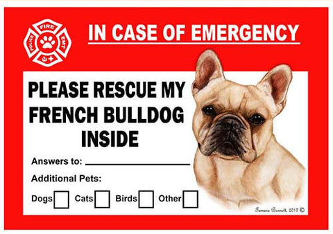 French Bulldog Dog Emergency Window Cling