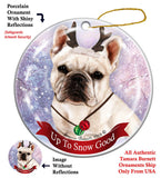 French Bulldog White Howliday Dog Christmas Ornament