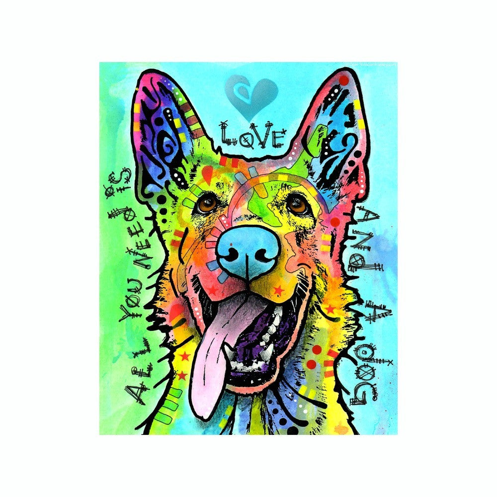 German Shepherd All You Need Is Love And A Dog Dean Russo Vinyl Dog Car Sticker