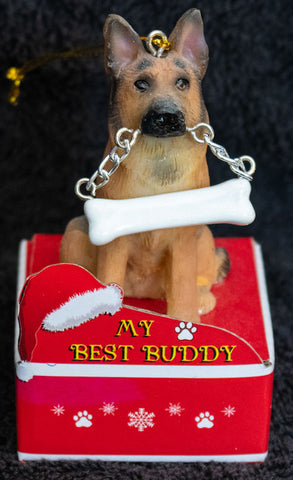 German Shepherd Statue Best Buddy Christmas Ornament