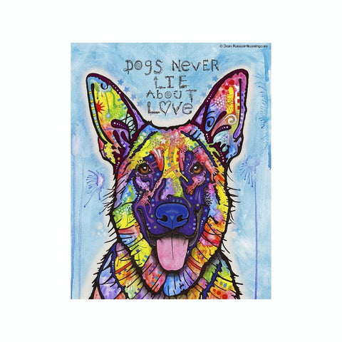 German Shepherd Dogs Never Lie About Love Dean Russo Vinyl Dog Car Sticker
