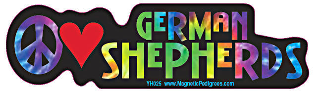 Peace Love German Shepherd Yippie Hippie Dog Car Sticker