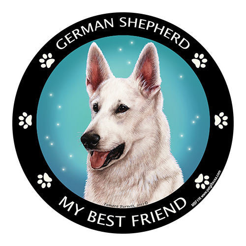 German Shepherd White My Best Friend Dog Breed Magnet