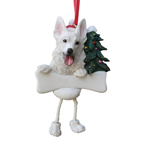 Dangling Leg German Shepherd White Dog Christmas Ornament