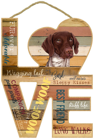 German Shorthaired Pointer Love Sign