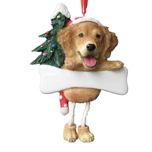 Dangling Leg Golden Retriever Christmas Ornament