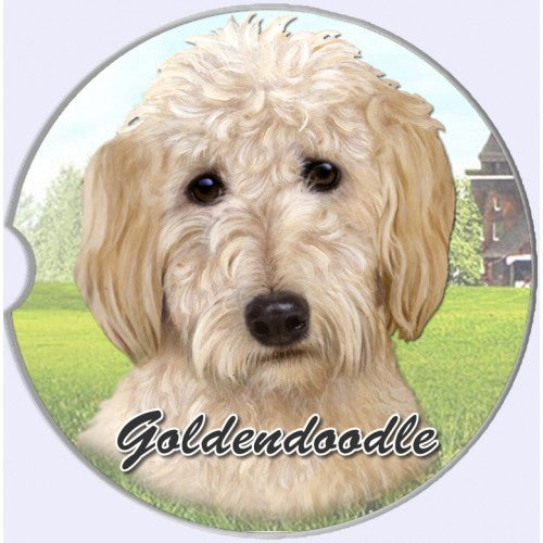 Goldendoodle Sandstone Absorbent Dog Breed Car Coaster