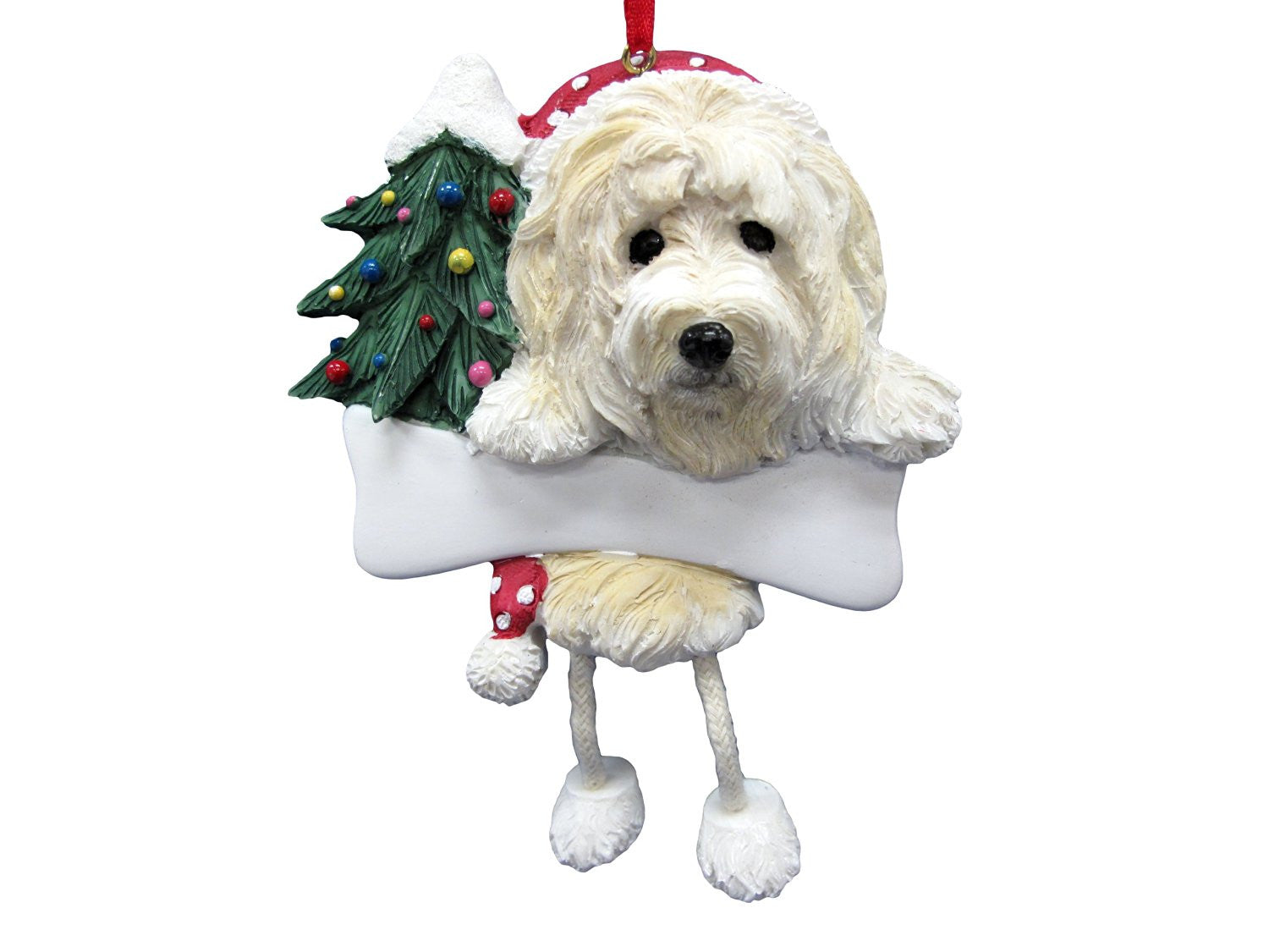 dangling leg goldendoodle dog christmas ornament