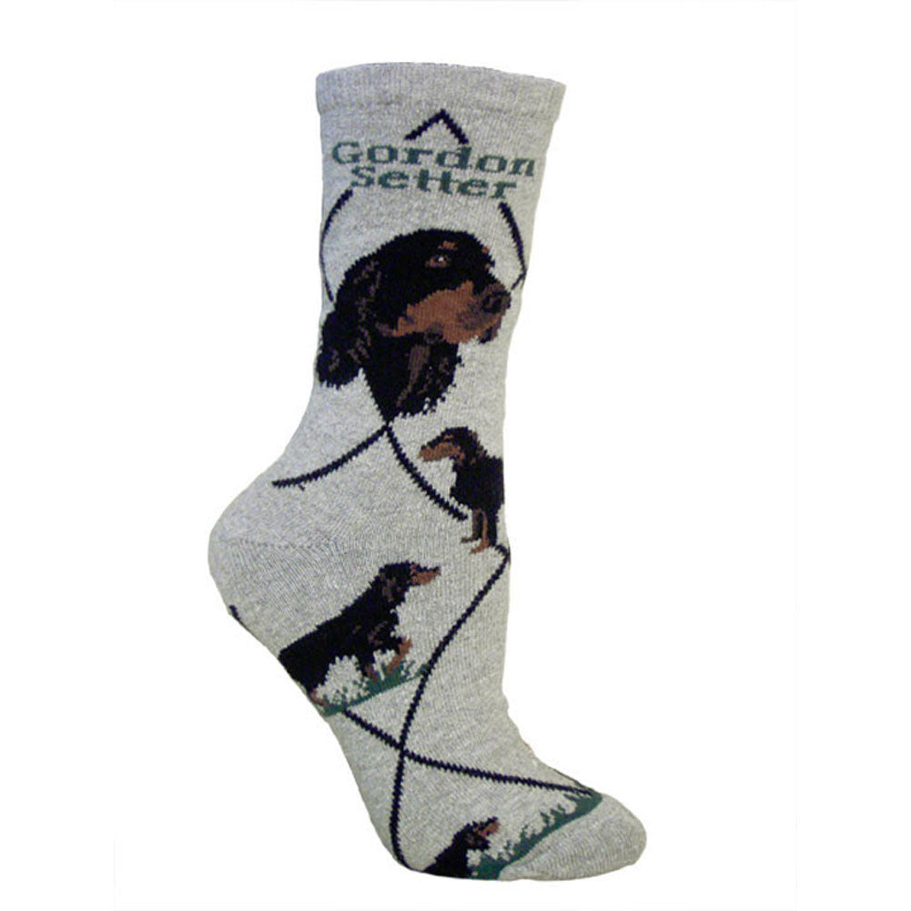 Gordon Setter Dog Breed Novelty Socks Gray
