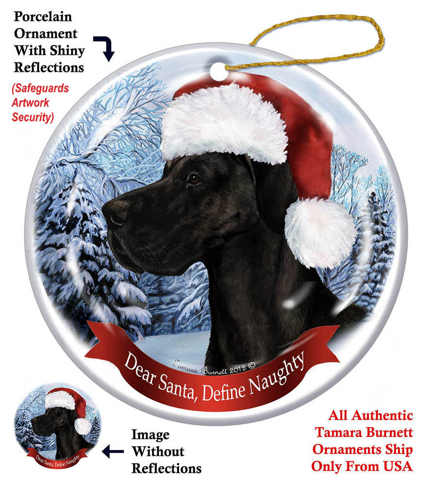 Great Dane Black Uncropped Howliday Dog Christmas Ornament