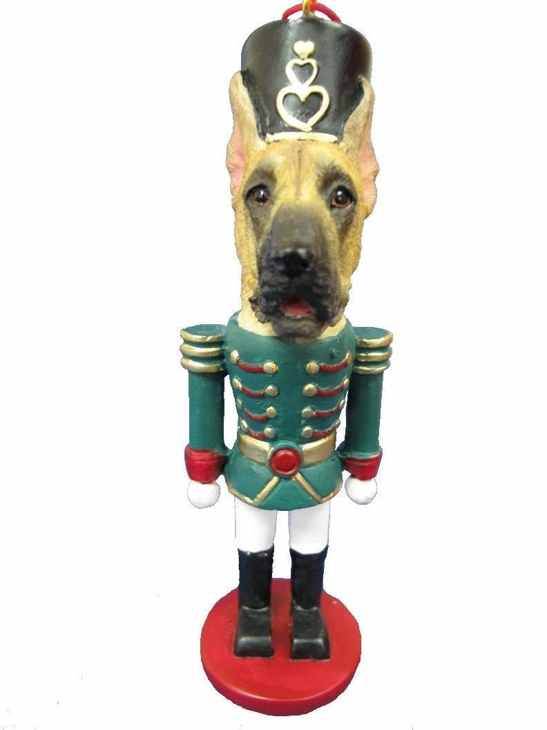 Great Dane Fawn Dog Toy Soldier Nutcracker Christmas Ornament