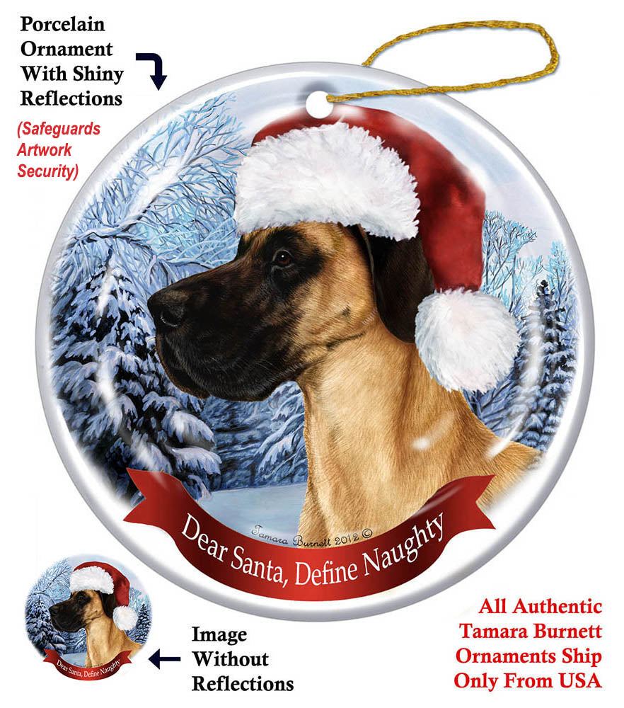 Great Dane Fawn Uncropped Howliday Dog Christmas Ornament ...