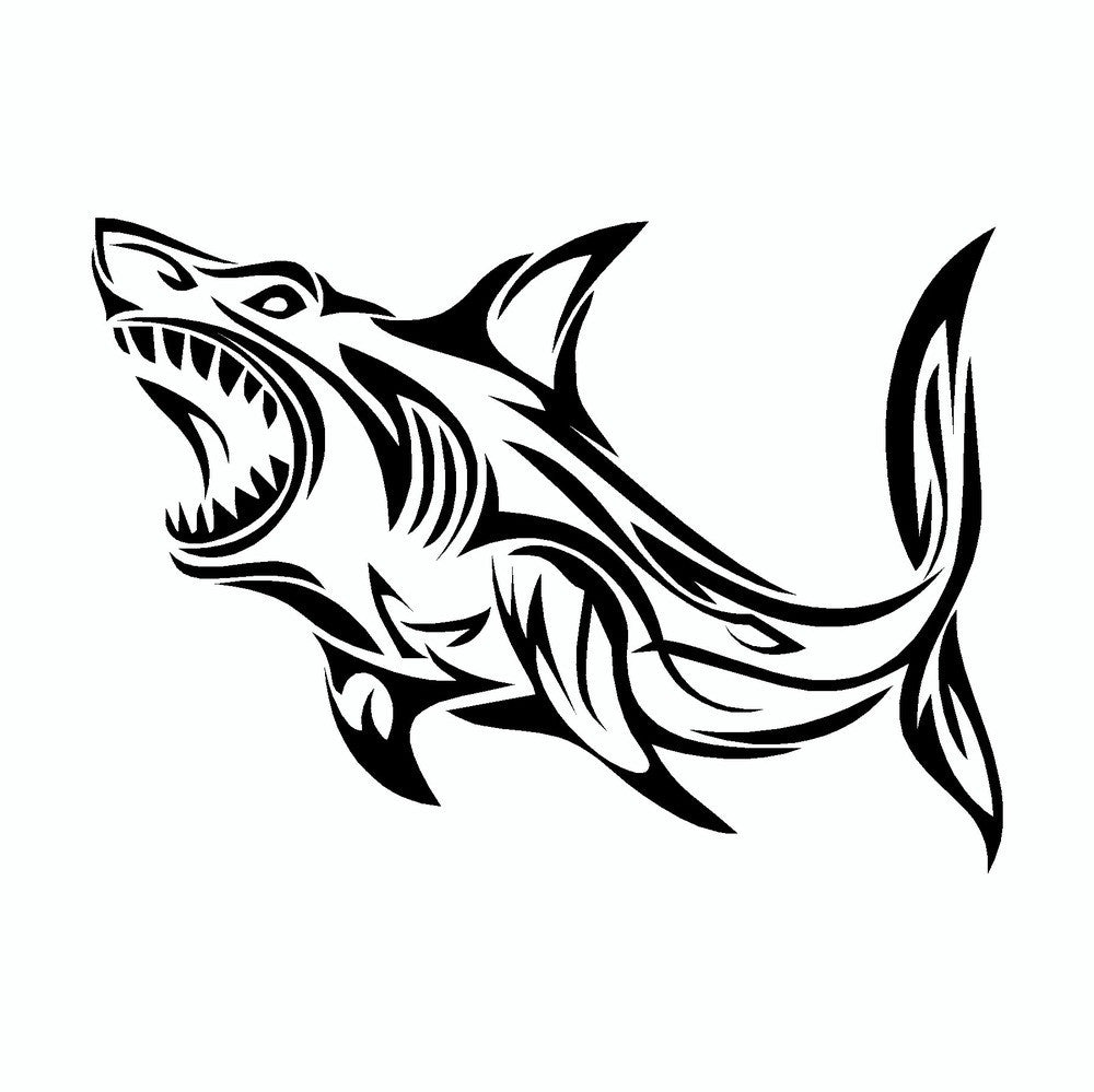 Great White Shark Tribal Vinyl Car Sticker Doggy Style Gifts