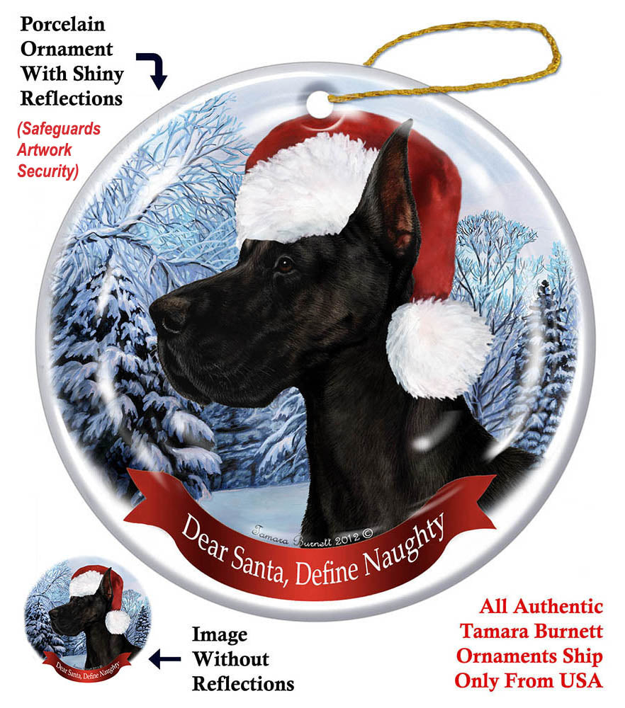 Great Dane Black Cropped Howliday Dog Christmas Ornament
