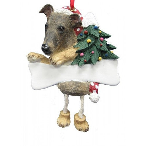 Dangling Leg Greyhound Brindle Dog Christmas Ornament
