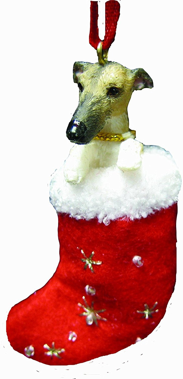 Santa's Little Pals Greyhound Brindle Christmas Ornament