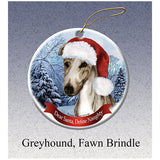 Greyhound Fawn Brindle Howliday Dog Christmas Ornament