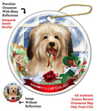 Havanese Cream Howliday Dog Christmas Ornament