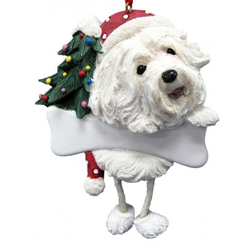 Dangling Leg Havanese Dog Christmas Ornament