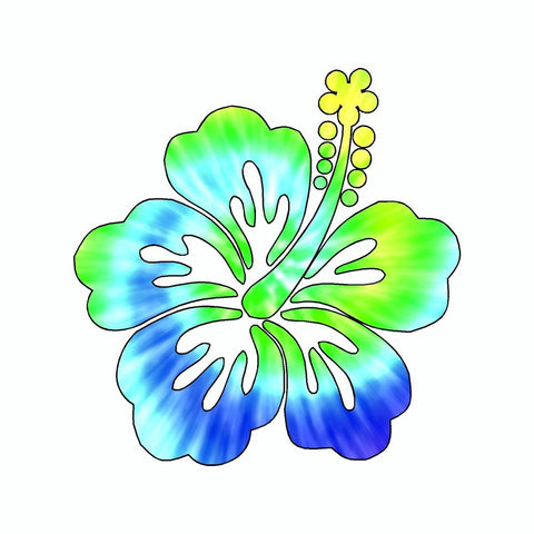 Hibiscus Flower Tie Dye Vinyl Car Sticker