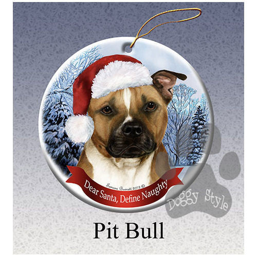 Pit Bull Brindle Howliday Dog Christmas Ornament