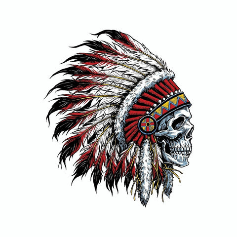 Indian Chief Skull Vinyl Car Sticker