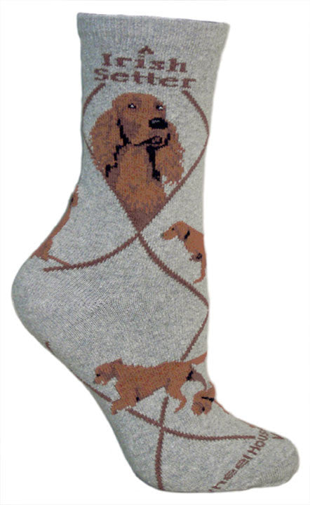 Irish Setter Dog Breed Novelty Socks Gray
