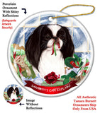 Japanese Chin Black Howliday Dog Christmas Ornament