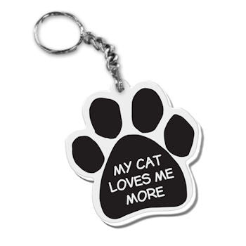 Dog Paw Key Chain My Cat Loves Me More FOB Key Ring