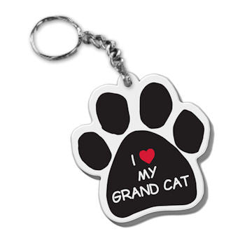 Dog Paw Keychain I Heart Love Grand Cat FOB Keyring