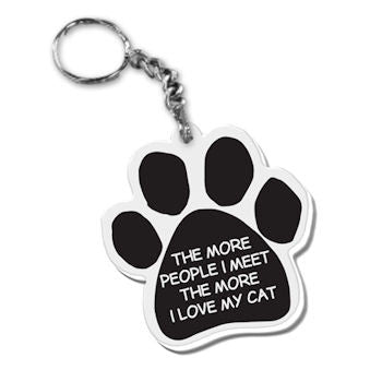 Dog Paw Key Chain The More People I Meet The More I Love My Cat FOB Key Ring