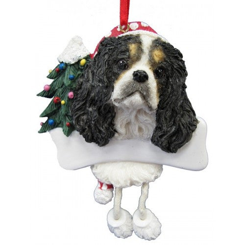 Dangling Leg Cavalier King Charles Spaniel Tri Color Dog Christmas Ornament