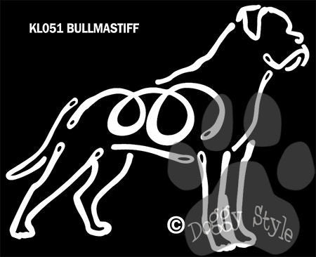 K Lines Bullmastiff Dog Car Window Decal Tattoo