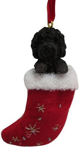 Santa's Little Pals Labradoodle Dark Christmas Ornament