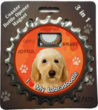 Labradoodle Yellow Dog Bottle Ninja Stainless Steel Opener Magnet