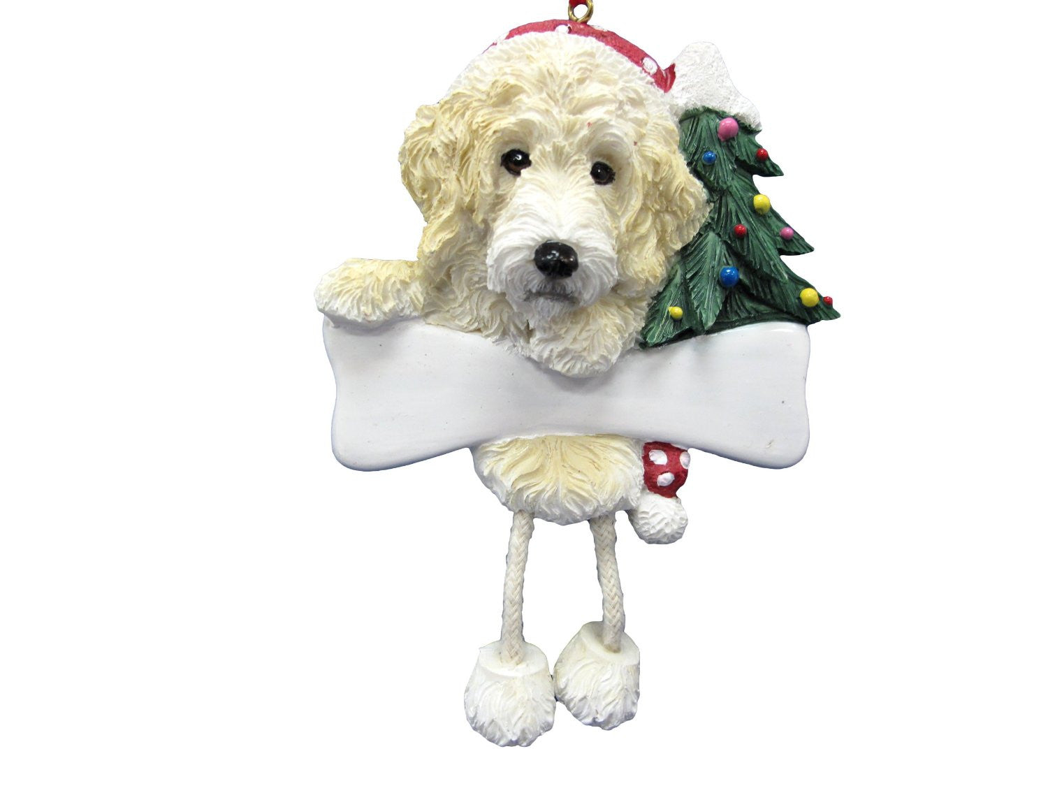 Dangling Leg Cream Labradoodle Christmas Ornament