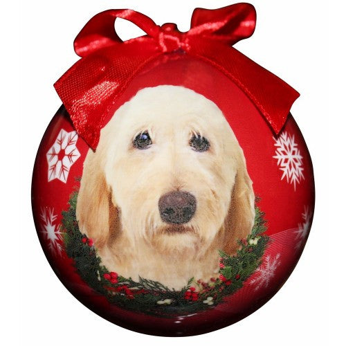 Labradoodle Cream Shatterproof Dog Christmas Ornament