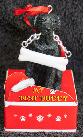 Labrador Black Statue Best Buddy Christmas Ornament