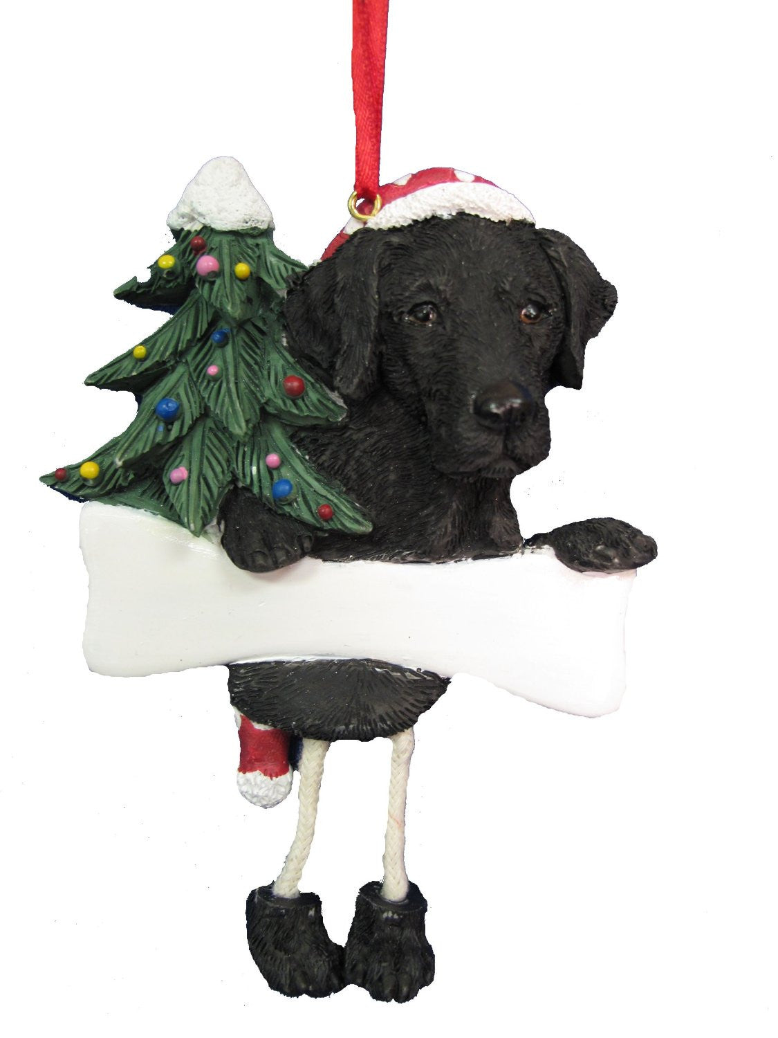 Dangling Leg Labrador Black Christmas Ornament
