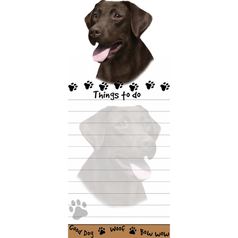 Labrador Chocolate List Stationery Notepad