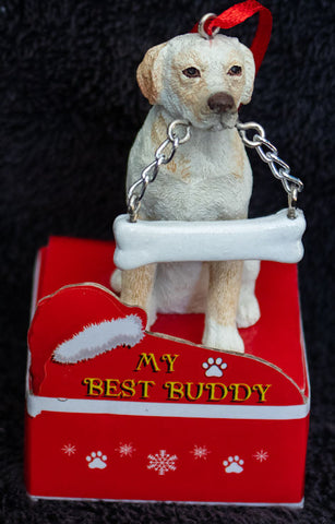 Labrador Yellow Statue Best Buddy Christmas Ornament