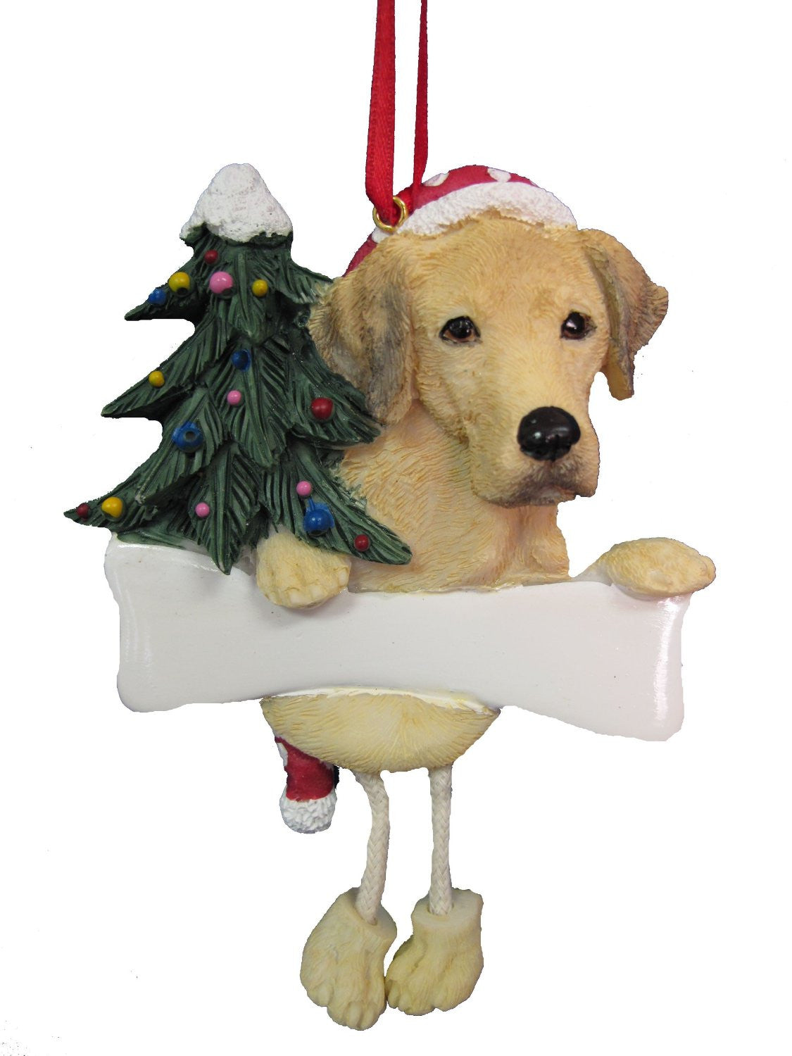 Dangling Leg Yellow Labrador Christmas Ornament