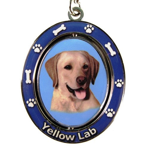 Labrador Retriever Yellow Dog Spinning Keychain