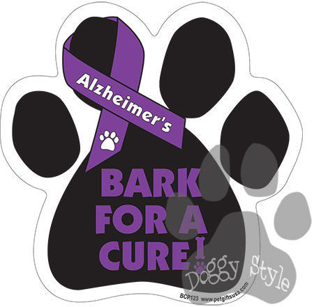 Bark For A Cure Alzheimer's Disease Dog Paw Magnet