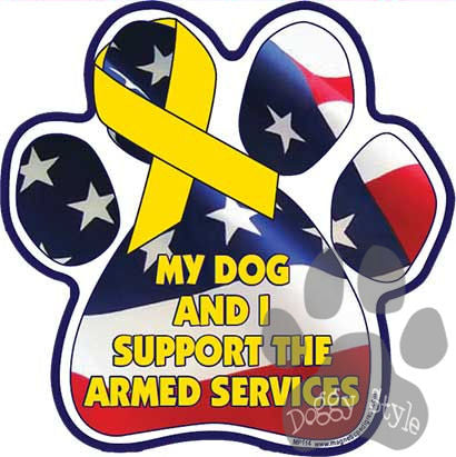My Dog and I Supprt the Armed Services Paw Magnet