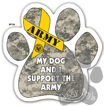 My Dog and I Support the Army Paw Magnet