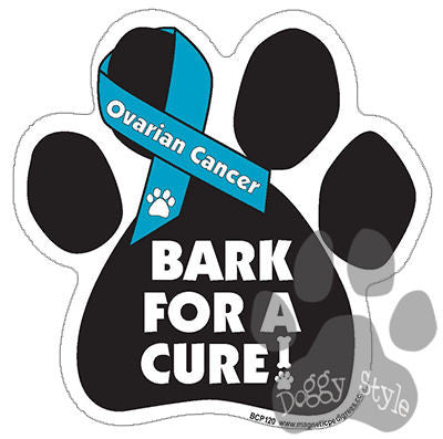 Bark For A Cure Ovarian Cancer Dog Paw Magnet