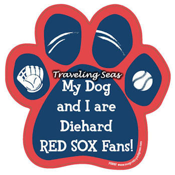 My Dog And I Are Diehard Red Sox Fans Baseball Paw Magnet