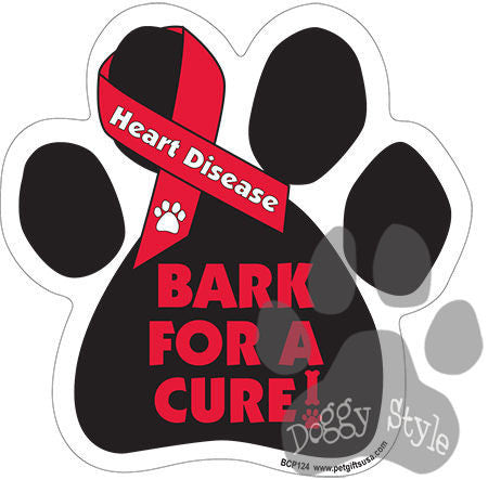 Bark For A Cure Heart Disease Dog Paw Magnet