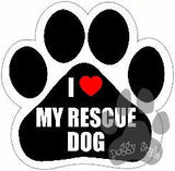 I Heart Love My Rescue Dog Paw Magnet